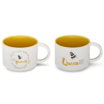 Cooksmart Bumble Bees Set of 2 Stacking Mugs