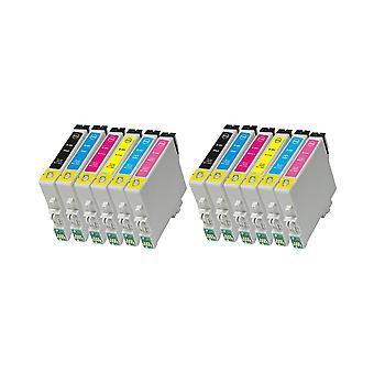 RudyTwos 2 x reemplazo de unidad de sistema de tinta Epson Caballito negro cian Magenta amarillo Light cian y Light Magenta Compatible con Stylus Photo R200, R220, R300, R300M, R320, R325, R330, R340, R350, RX300,