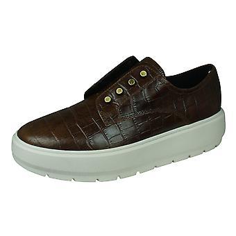 Geox D Kaula C Naisten nahka mokkasiini / kengät - ruskea