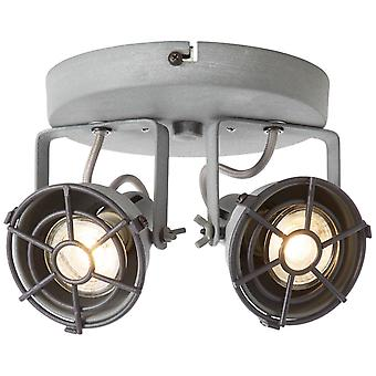 BRILLIANT Lampe Jesper LED Spotrondell 2flg grå beton   2x LED-PAR51, GU10, 5W LED reflektor lamper inkluderet, (380lm, 3000K)