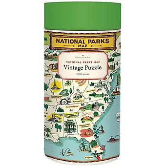 Cavallini National Parks Map Jigsaw Puzzle 1000 Piece