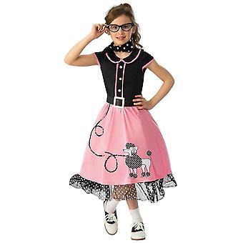 50-luvun Bopper Tyttö Rasva Rock N Roll Groupie Vaaleanpunainen Poodle Hop Lasten Tytöt Puku