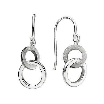 Dew Sterling Silver Linked Circle With Sandblast Drop Earrings 6694SB021