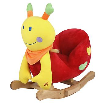 Plush rocking caterpillar Sara with skids and handles made of wood from 18 months