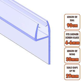 ECOSPA Bath Shower Screen Door Seal Strip - for 4-6mm Glass - Seals Gaps to 29mm