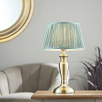 Lámpara de mesa antigua placa de latón y seda de abeto 1 luz IP20 - E27