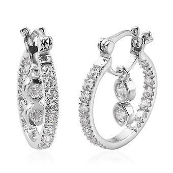 J Francis Swarovski® Zirconia Platinum Plated Silver Earrings 2.50 Ct.