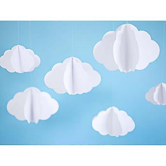 Hanging White Paper Cloud Decoration | Nursery Baby Shower Garland x3