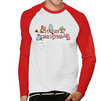 Care Bears Christmas Merry Xmas Candy Cane Men's Baseball camiseta de manga larga