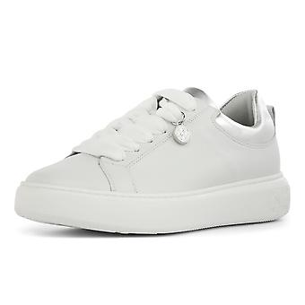 Peter Kaiser Flora Leather Wide Fit Lace Up Sneakers In White