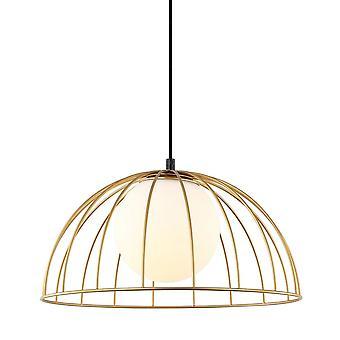 Italux Louis - Moderno pendente appeso Dorato 1 Luce con oro, ombra bianca, E27