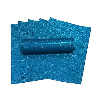 A4 Teal Blue Glitter Paper Soft Touch Non Shed 100gsm Pack de 10 Folhas