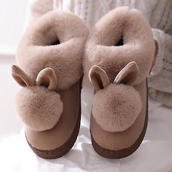 høst vinter bomull tøfler, pels kanin hjem varm innendørs bomull kvinner's