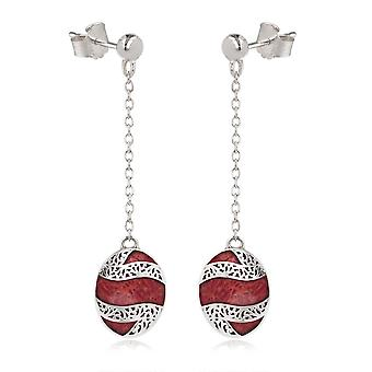 ADEN 925 Sterling Silver Coral Oval Shape Earrings (id 4267)