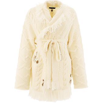 Alanui Lwhb040r21kni0020285 Women's White Wool Cardigan