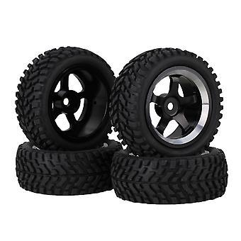 4PCS Black Beard Pattern Rubber Tire Alloy 5-Spoke velgen voor RC1:10 Auto