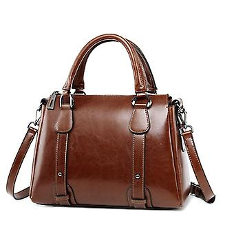 Vintage Wax Oil, Genuine Leather And Briefcase Top-handle, Shoulder Bags