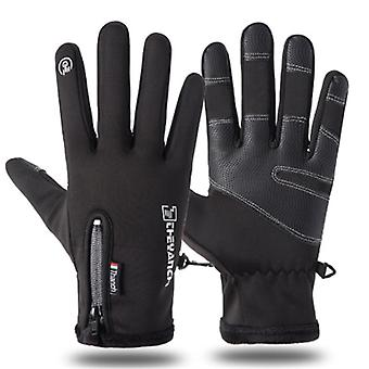 Autumn And Winter Zipper Outdoor Sports Riding Warm Windproof Waterproof Gloves