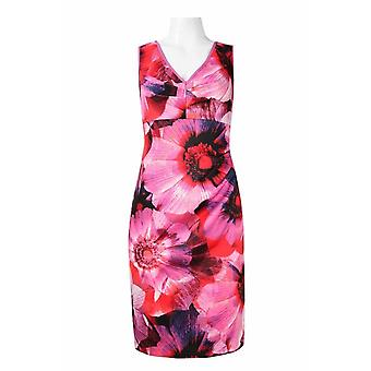 adrianna papell v-hals ermeløs glidelås tilbake floral print scuba kjole