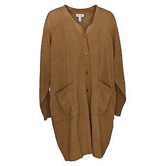 Denim & Co. Women's Petite Sweater Long Sleeve Button-Up Yellow A293416