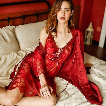 الصيف أنيقة أنثى مثير حبال الدانتيل Nightgown إغراء العروس حمام