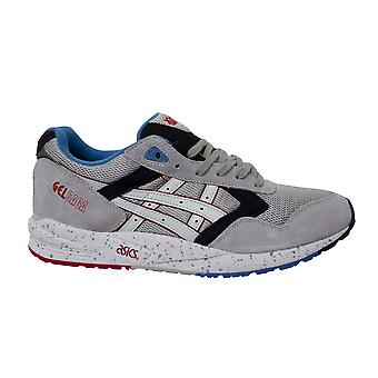 Asics Gel Saga Grey Leather Low Lace Up Mens Running Trainers H434N 1001