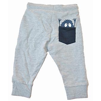 Bébé de pantalon de jogging avec le monstre, gris, 74 cl
