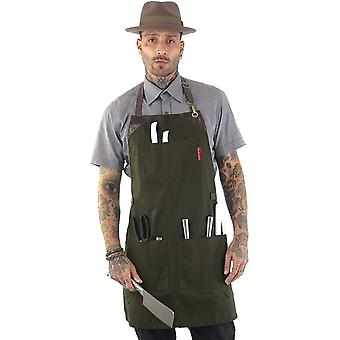 Under NY Sky Knife-Roll Forest Green Apron – Heavy-Duty Canvas, Leather Reinforcement
