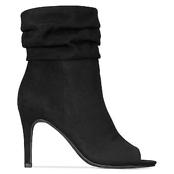 Material Girl Womens Petra Fabric Peep Toe Ankle Fashion Boots