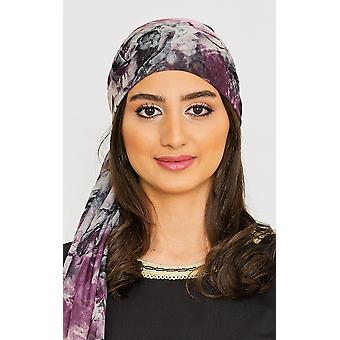 Kvinnor & apos;s lätta satin huvud halsduk i lila abstrakt blommönster