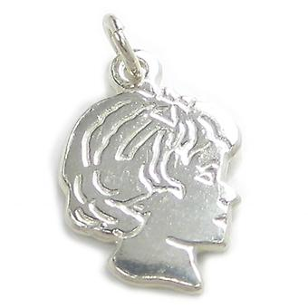 Girl Sterling Silver Charm .925 X 1 Girls Profile Charms Pendants - 6024