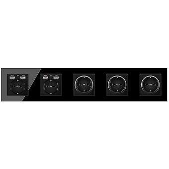 Glass Panel Five-slot Power Socket Without Pins With 4 Usb Charging Port