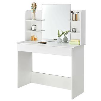Puinen pukeutumispöytä - moderni valkoinen - peilillä ja laatikolla - 108x40x142 cm