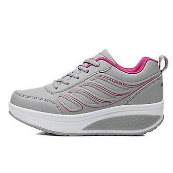 Hoogte verhogen platform schoenen, wedge sneakers, leren toning schoenen, zachte