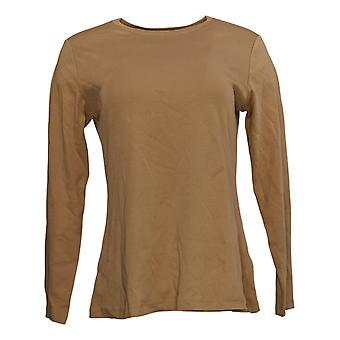 Isaac Mizrahi Live! Women's Top Pima Cotton Crew Neck Swing Brown A385436