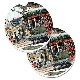 Caroline'S Treasures New Orleans Street Car Set Of 2 Cup Holder Car Coasters 8108Carc, 2.56, Multicolor
