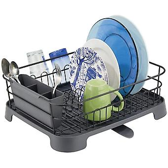 mDesign Kitchen Dish Drainer Rack with Swivel Spout for Air Drying on Kitchen Counter