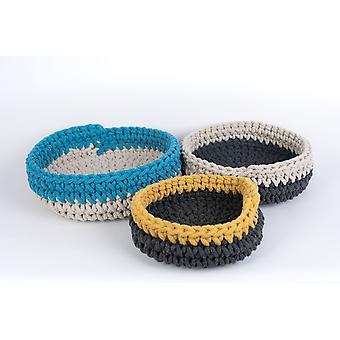 Spura Home Decor Knitted Nesting Dori Basket Organizer Set of 3