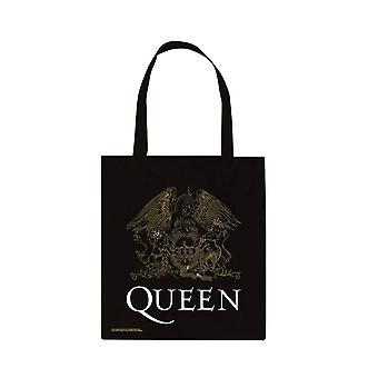 Queen Crest Black Canvas Tote Bag