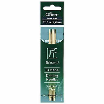 Clover Knitting Pins: Double-Ended: Set of Five: Takumi Bamboo: 12.5cm x 2.25mm