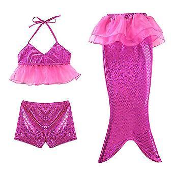 בגד ים ילדה ביקיני מכנסיים שטוחים בתולת ים שלושה חלקים בגדי ים
