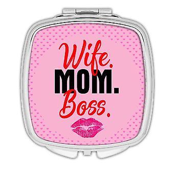 Gift Compact Mirror: Wife Mom Boss Women
