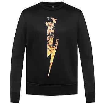 Neil Barrett Flame Thunderbolt Black Sweatshirt