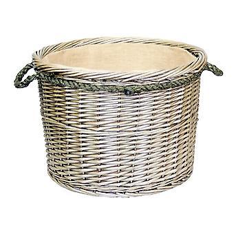 Stort rep hanterade antik tvätt rund timmerkorg