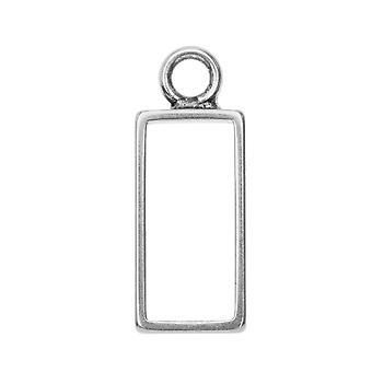 Final Sale - Open Back Bezel Pendant, Rectangle 9.5x25mm, 1 Piece, Antiqued Silver, by Nunn Design