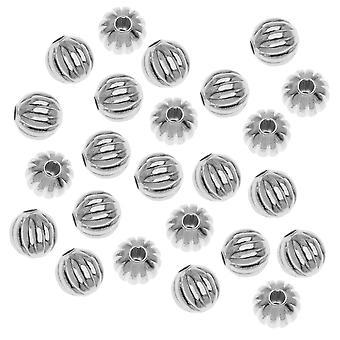 Perline metalliche rotonde scanalate argentate 6mm (50)