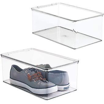 FengChun 2er-Set stapelbarer Schuhkasten mit Deckel praktischer Schuhkarton aus Kunststoff