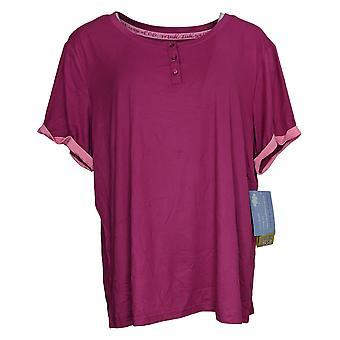 Muk Luks Set Mountain Bliss Short Sleeve Tee Only Fuschia Pink A377832