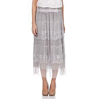 Kanten lange rok met elastische taille