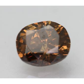 Cert 3.29 Carat Vivid Brown SI1 Oval Enhanced Natural Loose Diamond 9.85x8.1mm